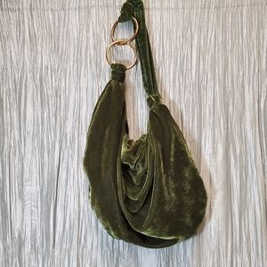 CUL-DE-SAC Emerald Green Velour Hobo Purse with Go
